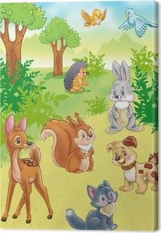 Leinwandbild Niedlichen Cartoon Tiere im Wald