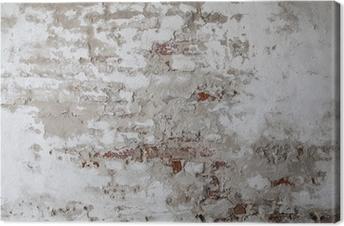 Leinwandbild Old Red Brick Wall mit Gebrochen Beton