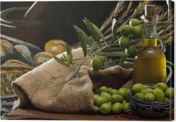 Leinwandbild Oliven und Öl