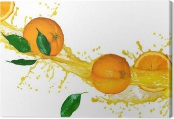 Leinwandbild Orangensaft isoliert auf weiß