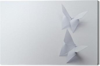 Leinwandbild Origami Schmetterlinge auf weißem Hintergrund