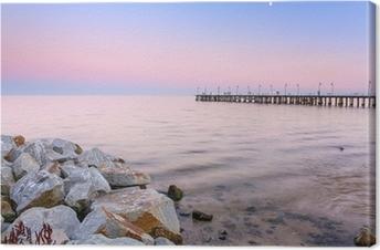 Leinwandbild Ostsee Pier in Gdynia Orlowo bei Sonnenuntergang, Polen