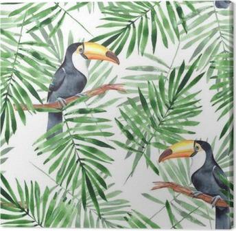 Leinwandbild Palmblätter und Tukan. Aquarell nahtlose Muster 4