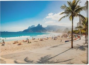 Leinwandbild Palmen und zwei Brüder Berg am Strand von Ipanema, Rio de Janeiro