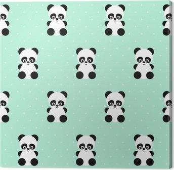 Leinwandbild Panda nahtlose Muster auf Tupfen grünen Hintergrund. Netter Entwurf für den Druck auf Baby Kleidung, Textilien, Tapeten, Stoff. Vector Hintergrund mit Baby Tier Panda lächelnd. Kinder Stil Abbildung.