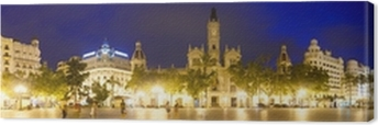 Leinwandbild Panorama City am Abend von Orten. Valencia