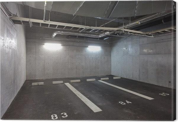 Leinwandbild Parkhaus U-Interieur, Neon-Lichter in der Dunkelheit ...