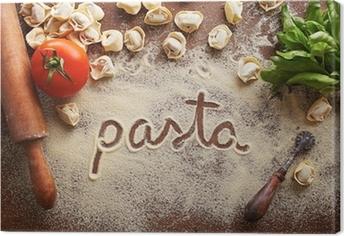 Leinwandbild Pasta Wort auf Tisch