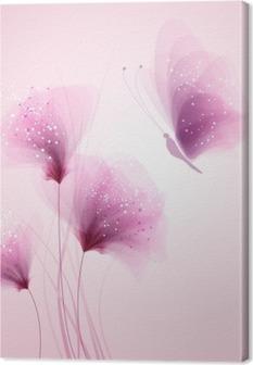 Leinwandbild Pastell Schmetterling und zarten Blüten