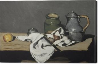 Leinwandbild Paul Cézanne - Stillleben mit grünem Gefäß und Zinnkanne