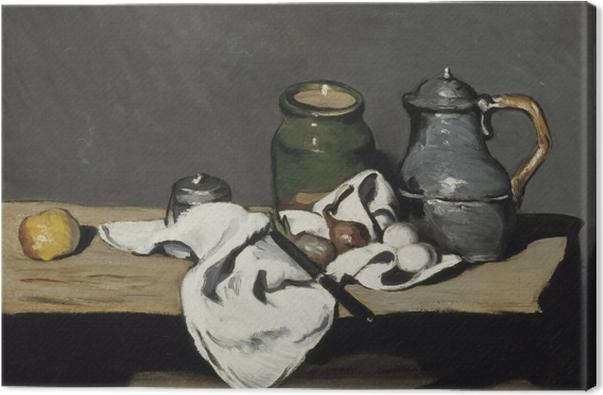Leinwandbild Paul Cézanne - Stillleben mit grünem Gefäß und Zinnkanne - Reproduktion