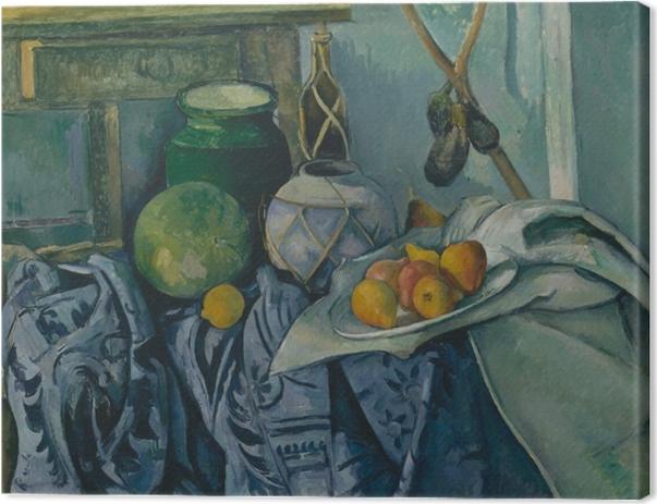 Leinwandbild Paul Cézanne - Stillleben mit Ingwertopf, Kürbis und Auberginen - Reproduktion