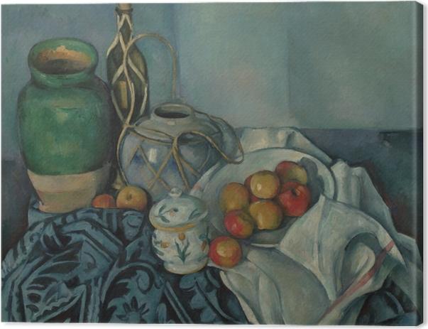 Leinwandbild Paul Cézanne - Stillleben mit Ingwertopf, Zuckerdose und Äpfeln - Reproduktion