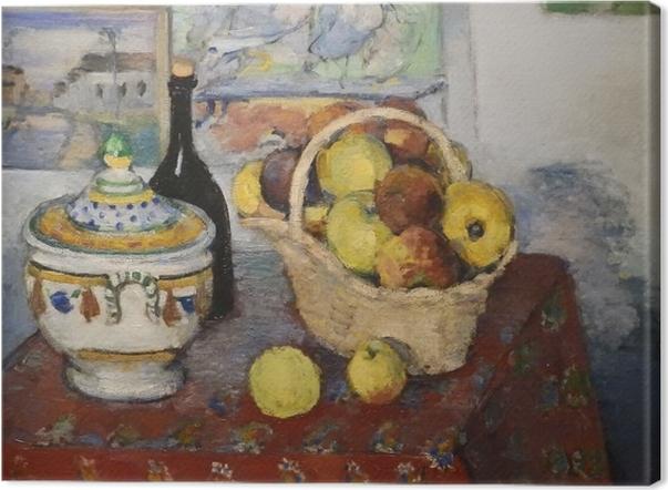 Leinwandbild Paul Cézanne - Stillleben mit Obstkorb und Suppenterrine - Reproduktion