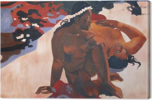 Leinwandbild Paul Gauguin - Aha oe feii? (Wie! Du bist eifersüchtig?) - Reproduktion