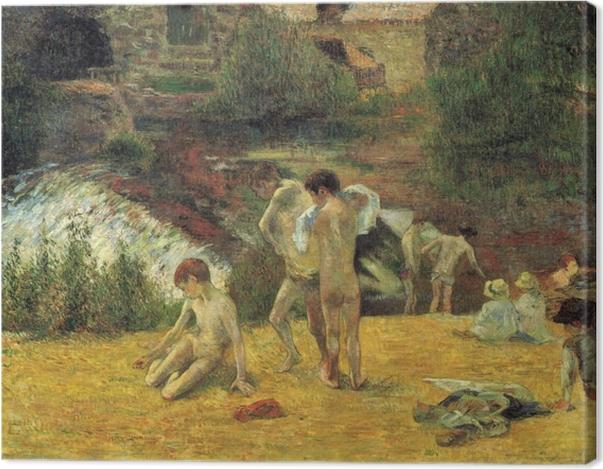 Leinwandbild Paul Gauguin - Badende bretonische Knaben (Badende bei der Mühle von Bois d'Amour, Pont-Aven) - Reproduktion