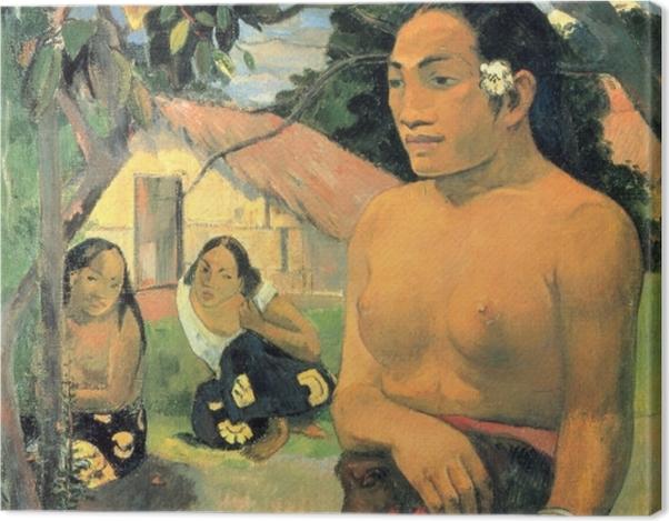 Leinwandbild Paul Gauguin - E haere oe i hia? (Wohin gehst du?) - Reproduktion