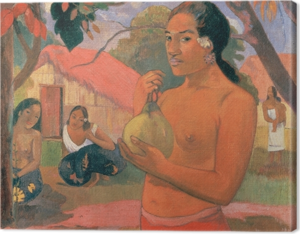 Leinwandbild Paul Gauguin - Eu Haere ia oe (Wohin gehst du oder Tahitische Frau mit Frucht) - Reproduktion