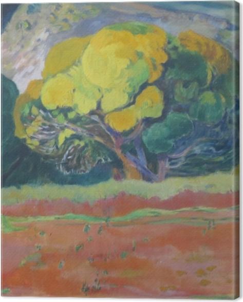 Leinwandbild Paul Gauguin - Fatata te moua (am Fuße des Berges) - Reproduktion