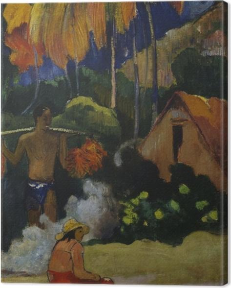 Leinwandbild Paul Gauguin - Mahana Ma'a I (Der Moment der Wahrheit) - Reproduktion