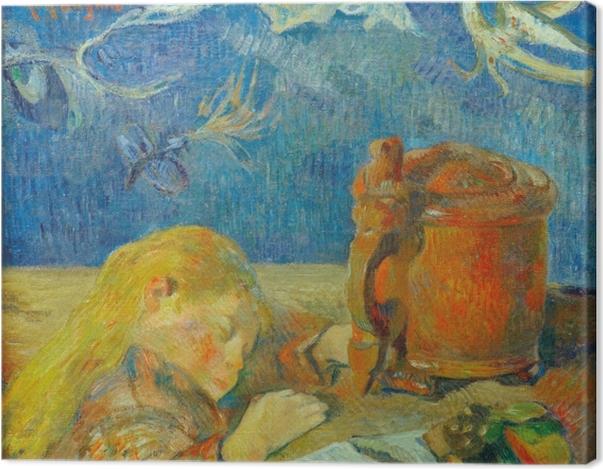 Leinwandbild Paul Gauguin - Porträt Clovis Gauguin (Schlafendes Kind) - Reproduktion