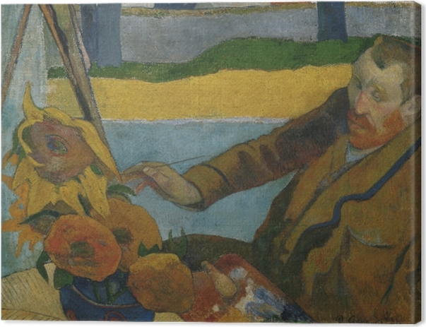 Leinwandbild Paul Gauguin - Porträt des Vincent van Gogh, Sonnenblumen malend - Reproduktion