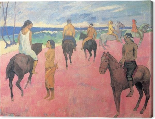 Leinwandbild Paul Gauguin - Reiter am Strand - Reproduktion