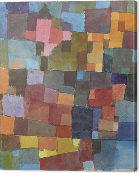 Leinwandbild Paul Klee - Raumarchitekturen (Auf Kalt-Warm) - Reproduktion
