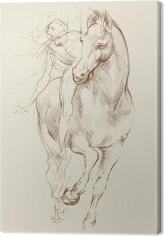 Leinwandbild Pferd und Reiter. Basierend auf Zeichnung von Leonardo da Vinci