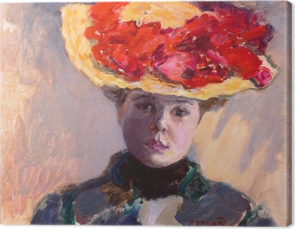 Leinwandbild Pierre Bonnard - Mädchen im Strohhut - Reproductions