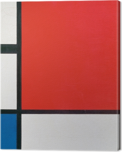 Leinwandbild Piet Mondrian - Komposition mit Rot, Blau und Gelb - Reproduktion