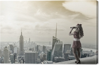 Leinwandbild Pin-up-Frau vor dem New York City Trog Fernglas.