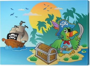 Leinwandbild Pirate parrot und Brust auf der Insel