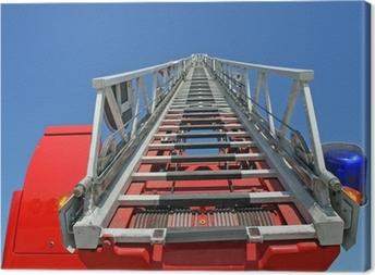 Leinwandbild Plattform von einem LKW-Brand während einer Trainingseinheit in der Fireho