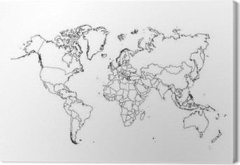 Leinwandbild Politische Weltkarte Vektor-Illustration.