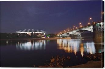 Leinwandbild Poniatowski-Brücke und Nationalstadion in Warschau bei Nacht.