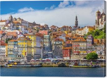 Leinwandbild Porto, Portugal Alte Stadt-Skyline auf dem Fluss Douro