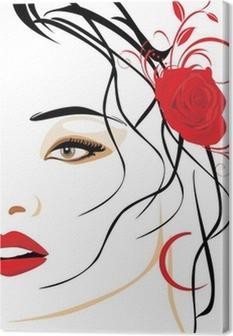 Leinwandbild Portrait der schönen Frau mit roten Rose im Haar
