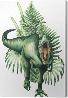 Leinwandbild Realistische Aquarell-Dinosaurier