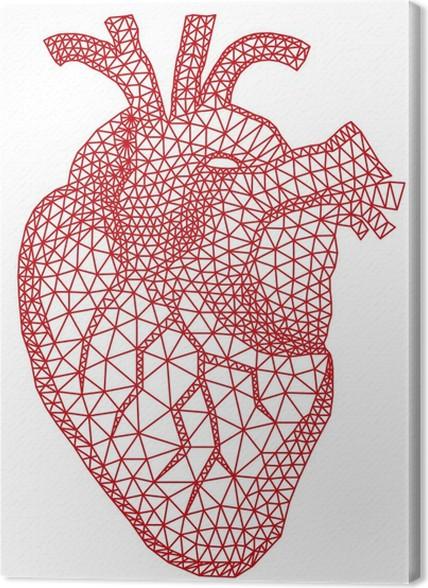 Leinwandbild Red menschlichen Herzens mit geometrische Gitter-Muster ...