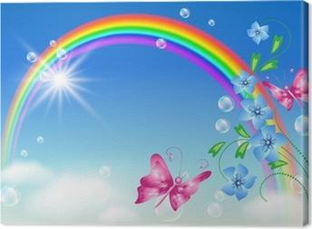 Leinwandbild Regenbogen in den Himmel