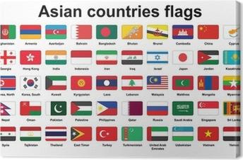 Leinwandbild Reihe von asiatischen Ländern flags icons mit abgerundeten Ecken