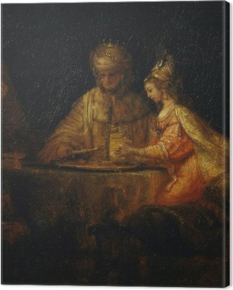 Leinwandbild Rembrandt - Ahasver und Haman beim Fest von Esther - Reproduktion
