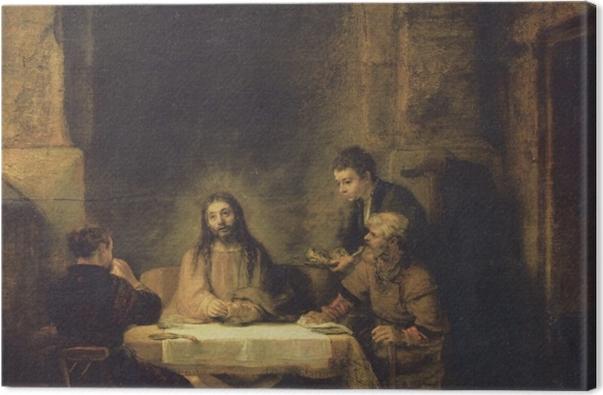 Leinwandbild Rembrandt - Christus in Emmaus - Reproduktion