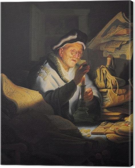 Leinwandbild Rembrandt - Der Geldwechsler - Reproduktion