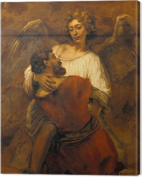 Leinwandbild Rembrandt - Jakob ringt mit dem Engel - Reproduktion
