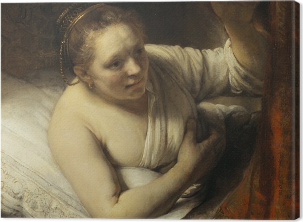 Leinwandbild Rembrandt - Junge Frau im Bett - Reproduktion