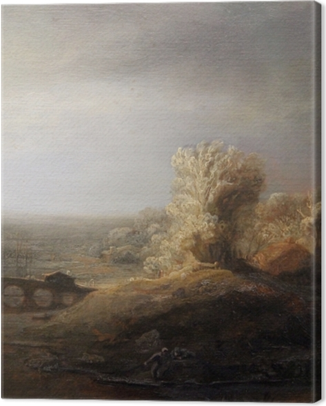 Leinwandbild Rembrandt - Landschaft mit Bogenbrücke - Reproduktion