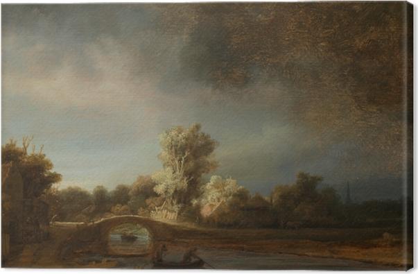 Leinwandbild Rembrandt - Landschaft mit Steinbrücke - Reproduktion