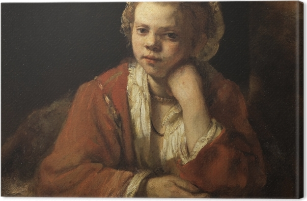 Leinwandbild Rembrandt - Mädchen am Fenster - Reproduktion